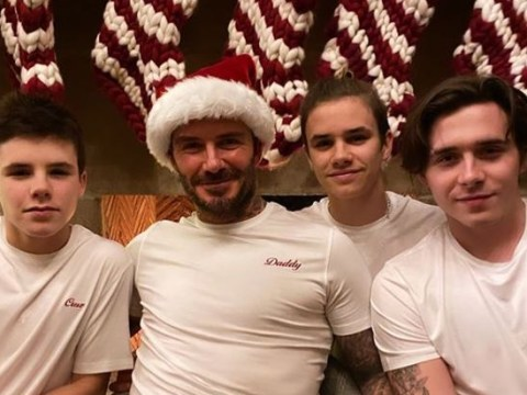 David Beckham and his doppleganger boys are back together for Christmas in adorable post