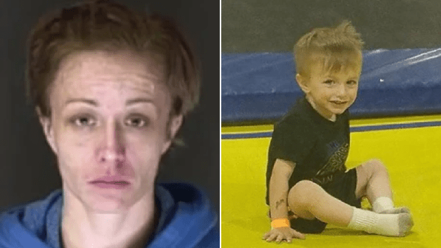 Mugshot of Melissa Michelle Adamson next to photo of her late son Lokhi Bloom