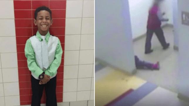 Photo of Gabriel Taye next to grab of him laying unconscious on school bathroom floor