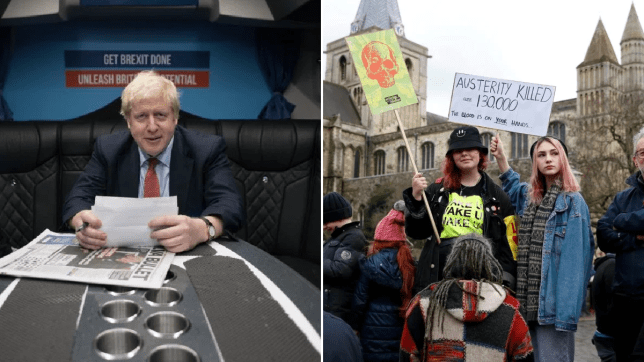 Protesters in Kent ahead of a speech by Boris Johnson