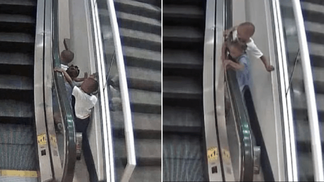 Chilling video shows toddler playing on airport escalator moments before it killed him
