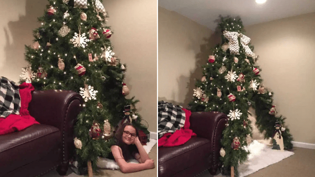 Split image of Robbie Crawford's daughter lying under her Christmas tree-pee and a photo of the tree-pee on its own