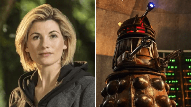 Jodie Whittaker as The Doctor and a Dalek