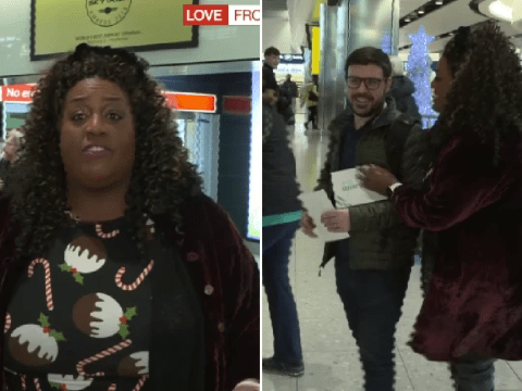 Alison Hammond chases terrified passenger at Heathrow Airport in Love Actually-style skit