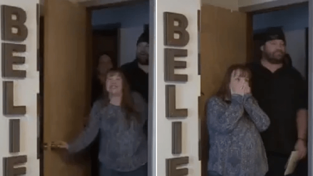 Grabs of alleged cancer faker Jennifer Mikesell reacting to her bedroom makeover