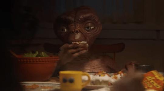 E.T. eating a cupcake