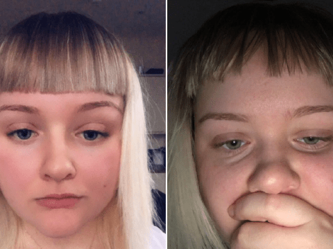 Trusting girlfriend lets boyfriend cut her hair with his electric razor and isn't happy with the results