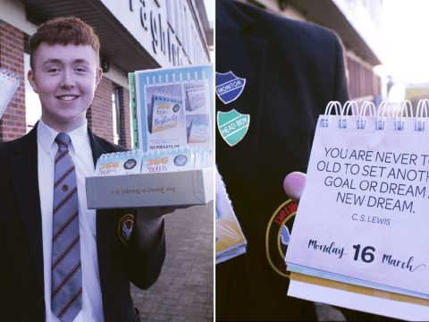 Teen creates calendar with positive messages every day in memory of his favourite teacher