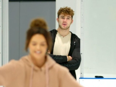 Curtis Pritchard cheekily barks orders at Maura Higgins as she makes Dancing On Ice debut