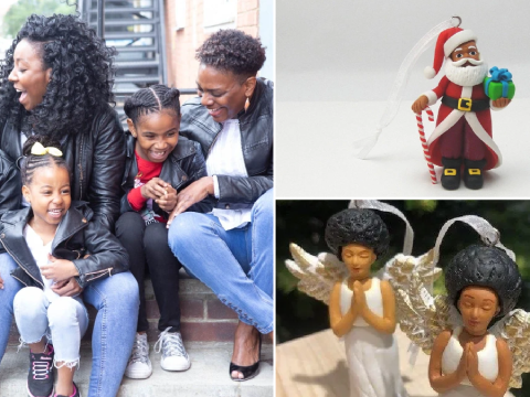 Mums launch 'Christmas tree decorations of colour' with black Santa and angels