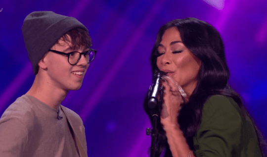 Nicole joined Robbie on the X Factor stage