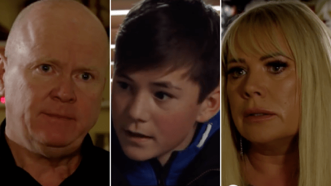 Sharon and Phil Mitchell and Denny Rickman in EastEnders