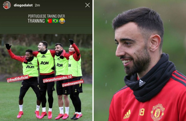 Bruno Fernandes in Man Utd training