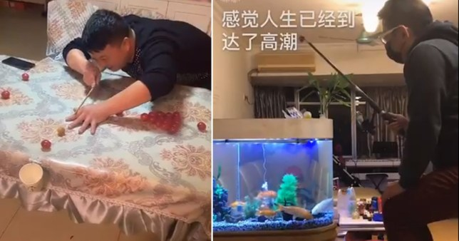People trapped in Wuhan have come up with creative ways to pass the time (Picture: tiktok)