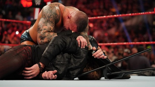 WWE superstar Randy Orton attacks Edge on Raw after Royal Rumble return
