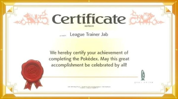 Completed pokedex certificate