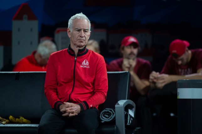 John McEnroe looks on concerned during a Laver Cup match