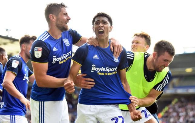 Manchester United transfer target Jude Bellingham celebrates scoring a goal