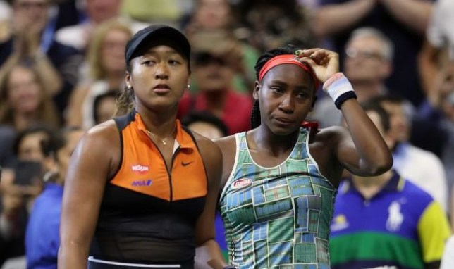 Naomi Osaka of Japan and Cori Gauff of the United States speak following their Women's Singles third round match on day six of the 2019 US Open at the USTA Billie Jean King National Tennis Center on August 31, 2019 in Queens borough of New York City.
