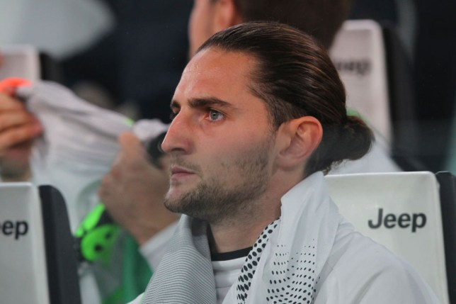 Adrien Rabiot is pictured on the Juventus bench during a game