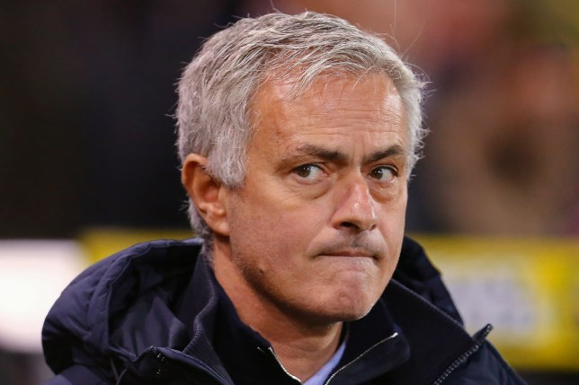 Jose Mourinho is pictured pursing his lips during a game