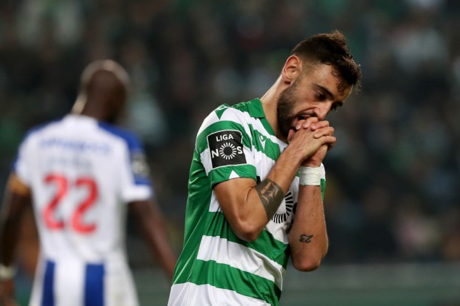 Bruno Fernandes appears dejected during a Sporting Lisbon game