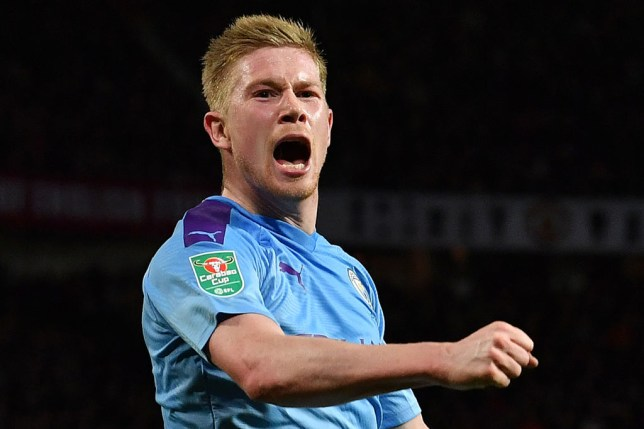 Kevin De Bruyne celebrates during Manchester City's win over Manchester United