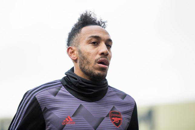 Pierre-Emerick Aubameyang looks on during Arsenal training