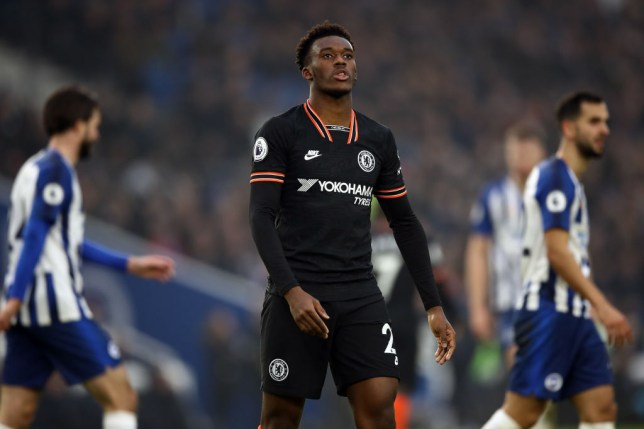 Callum Hudson-Odoi of Chelsea reacts during the Premier League match between Brighton & Hove Albion and Chelsea FC at American Express Community Stadium on January 01, 2020 in Brighton, United Kingdom.