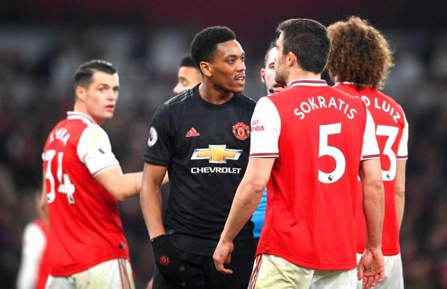Man Utd striker Anthony Martial against Arsenal