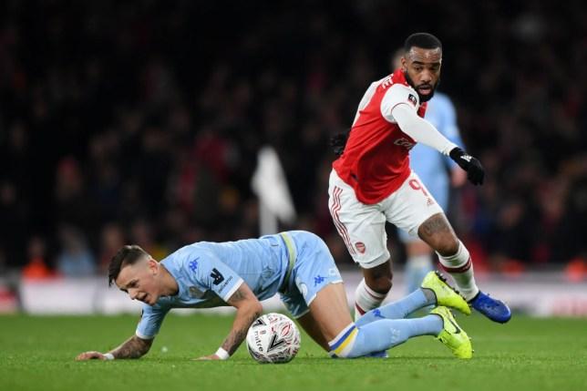 Arsenal striker Alexandre Lacazette against Leeds