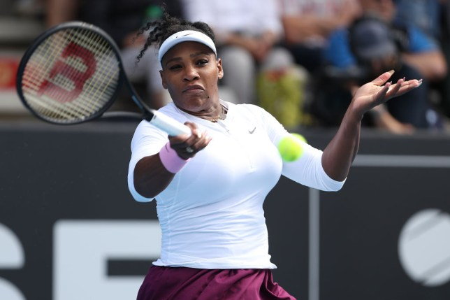 Serena Williams hits a forehand during her first win in Auckland