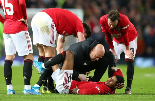 Marcus Rashford suffered an injury during Man Utd's FA Cup win over Wolves in midweek
