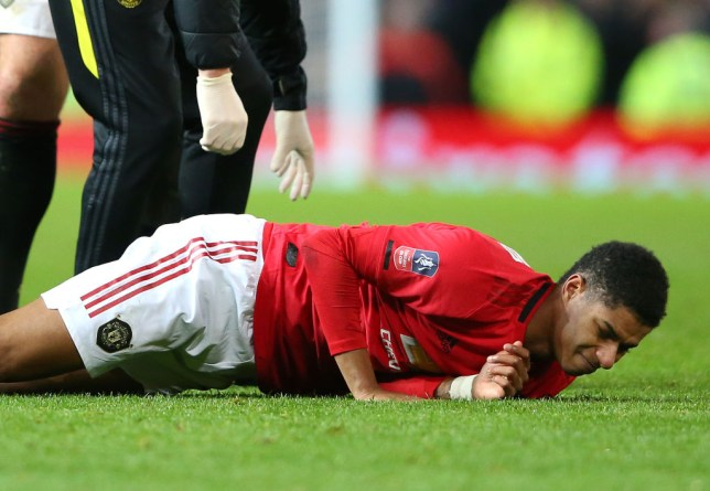 Marcus Rashford was forced off with a back injury during Manchester United's win over Wolves