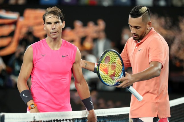 Nick Kyrgios and Rafael Nadal shake hands at the net after their Australian Open thriller