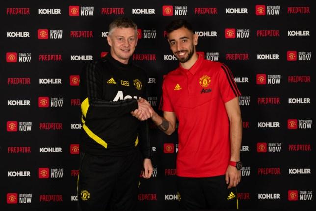 Ole Gunnar Solskjaer with new Manchester United signing Bruno Fernandes