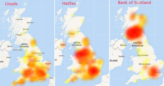 These graphics show which areas have been hit by the outage (Provider: Down Detector)