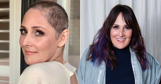US TV presenter Ricki Lake with a shaved head on one side and with hair on the other