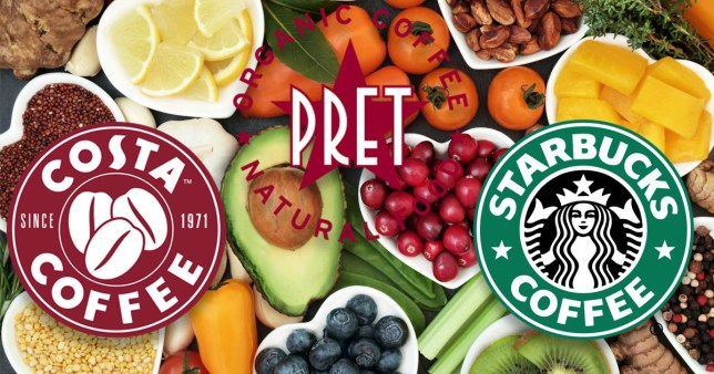 Comp of what is vegan at Pret, Costa and Starbucks