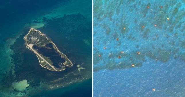 The lights can be seen in the right of this image. On the left is an island believed to have been turned into a military facility (Credit: Getty/ Google)