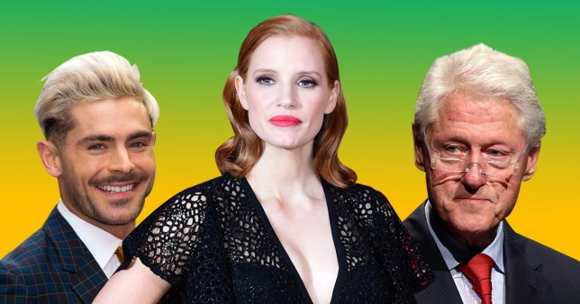 zac efron, jessica chastain and bill clinton