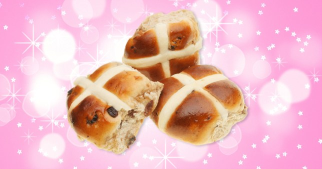 close up of hot cross buns on a colourful background