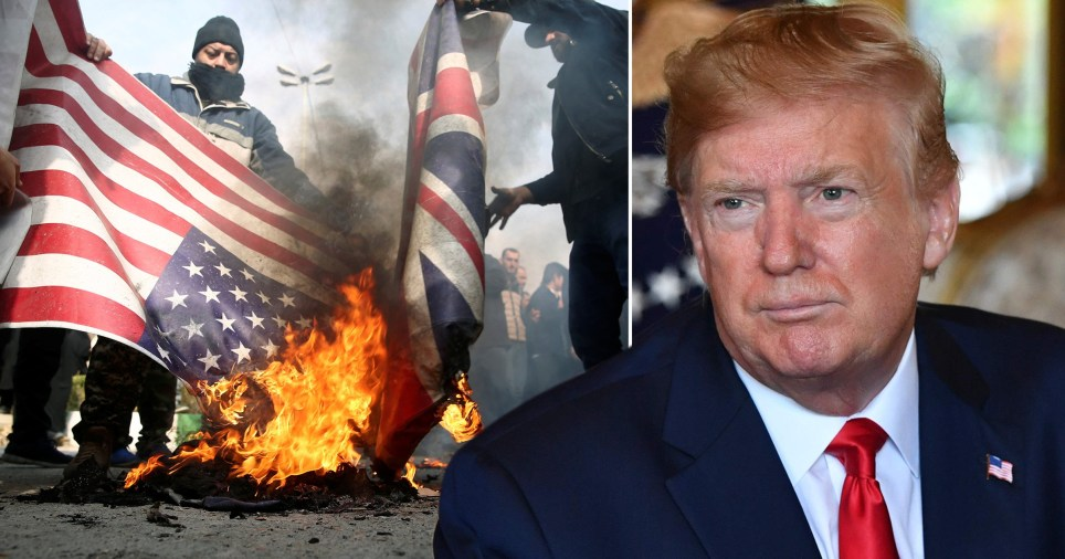 Protesters burning US and British flags (left) next to US President Donald Trump (right)