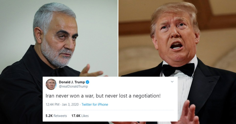 Photo of Qasem Soleimani next to photo of Donald Trump with grab of Trump's tweet taunting Iran