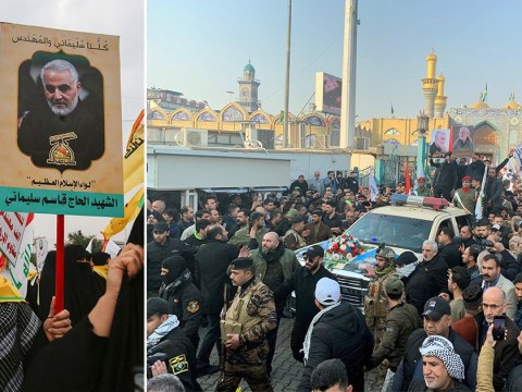 Mourners chant 'death to America' at funeral for Iran's top military man killed in US airstrike