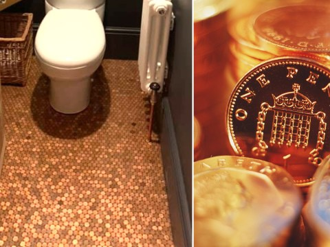 Man creates new bathroom floor by tiling £55 worth of 1p coins