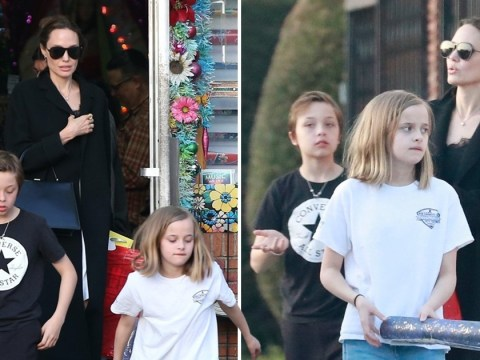 Angelina Jolie stays elegant as she enjoys family time with children Knox and Vivienne