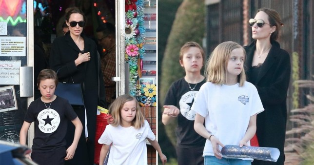 Angelina Jolie with Knox and Vivienne