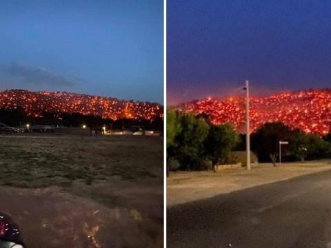 Australian hillside on fire 'looks like it's covered in lava'