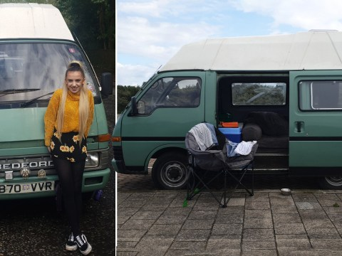 Student frees herself from rent and bills by turning a 35-year-old campervan into her new home